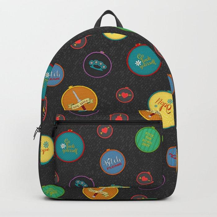 Subversive Embroidery Hoop Backpack Backpack by granniepanties ... 2dc31a7c3b5bc