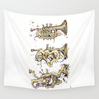trumpet Wall Tapestries featuring Trumpet Melt by Dan Lisowski Illustration