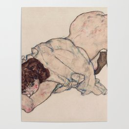 KNEELING GIRL, RESTING ON BOTH ELBOWS - EGON SCHIELE Poster