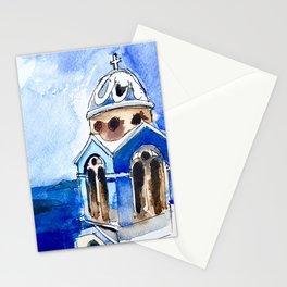 Blue Chapel Santorini Greece Stationery Cards