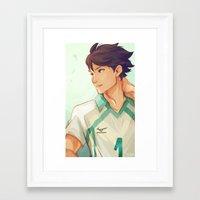 viria Framed Art Prints featuring Oikawa by viria