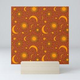 Vintage Sun and Star Print in Rust Mini Art Print