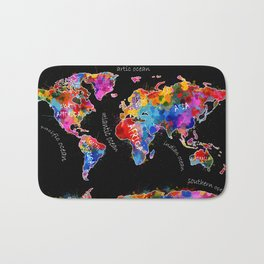 world map color splatter black Bath Mat