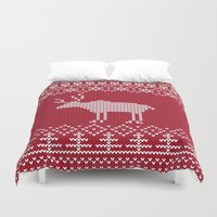 reindeer Duvet Covers featuring  Reindeer by Julia Badeeva