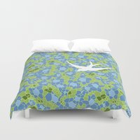 swallow Duvet Covers featuring White Swallow by Laurie Spugnardi