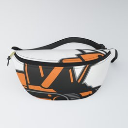 Tracked Mulching Tractor Icon Retro Fanny Pack