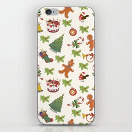 Christmas Holly,cake and Gingerbread Man SB6 iPhone Skin