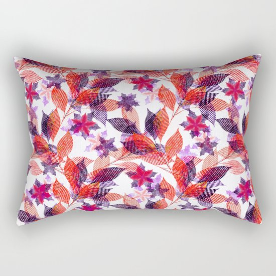 Red, or purple flowers and branches on a white background. Rectangular Pillow