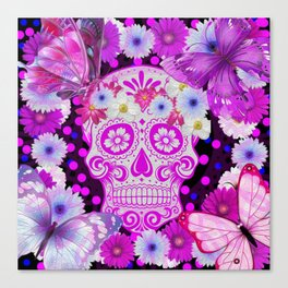 Sugar Skull and Butterfly, Day Of The Dead Canvas Print