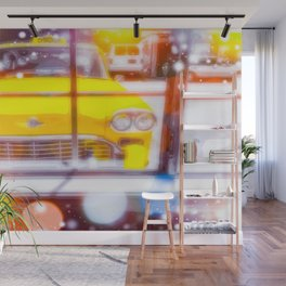 yellow classic taxi car with colorful bokeh light abstract background Wall Mural