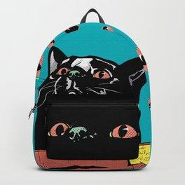 Blac Cat in a box (Cyan) Backpack