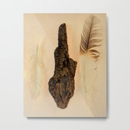FEATHER PHOTOGRAPHY, FEATHER AND FOSSILIZED WOOD, NATURE STILL LIFE, BIRD FEATHER PRINT - WARM Metal Print
