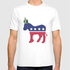 Wheres the Party at Democrat Mens Fitted Tee MEDIUM White
