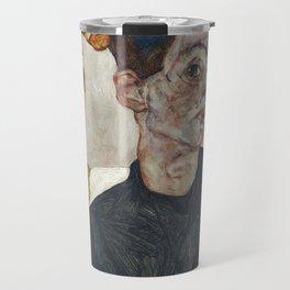Egon Schiele - Self-Portrait with Physalis / Chinese Lantern Plant (1912) Travel Mug