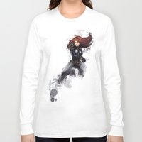 black widow Long Sleeve T-shirts featuring Black Widow by Isaak_Rodriguez