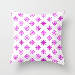 Snowflakes (Magenta & White Pattern) Throw Pillow