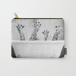 Four Giraffes in a Bath (bw) Carry-All Pouch