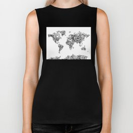 floral world map black and white Biker Tank