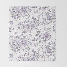 FLORAL VINTAGE ROSES MAUVE WHITE Throw Blanket