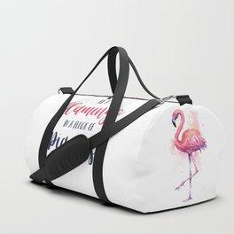 Be a Flamingo in a Flock of Pigeons Watercolor Pink Flamingo Duffle Bag