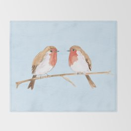 Two robins watercolor Throw Blanket