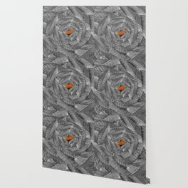 Orange Leaf On Grey And Silver Leaves - Beautiful Background - Autumn mood - #Society6 #buyart Wallpaper