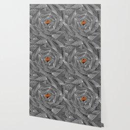 Orange Leaf On Grey And Silver Leaves - Beautiful Background - Autumn mood - #Society6 #buyart Wallpaper