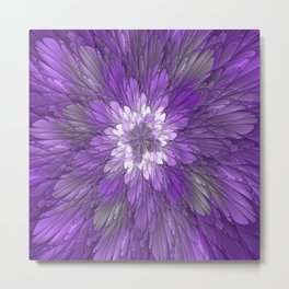 Psychedelic Purple Flower, Fractal Art Metal Print