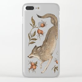 The Wolf and Rose Hips Clear iPhone Case