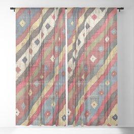 Luri  Antique Fars Southwest Persian Kilim Print Sheer Curtain