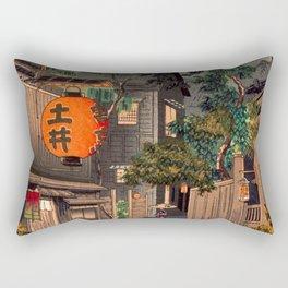 Tsuchiya Koitsu - Evening at Ushigome - Japanese Vintage Woodblock Painting Rectangular Pillow