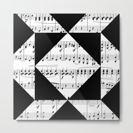 Black and White Music Metal Print