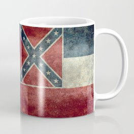 Mississippi State Flag in Distressed Grunge Coffee Mug