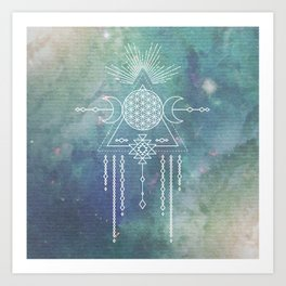 Mandala Flower of Life in Turquoise Stars Art Print