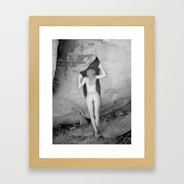 4094  Rear View B&W Nude Woman Naked Desert Feminine Classic Female Form Beautiful  Framed Art Print