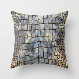 Faux Crocodile texture marble and gold Throw Pillow