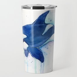 Killer Whale Orca Watercolor Travel Mug