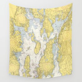 Vintage Map of The Narragansett Bay (1852) Wall Tapestry