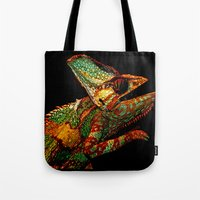 chameleon Tote Bags featuring KARMA CHAMELEON by Catspaws