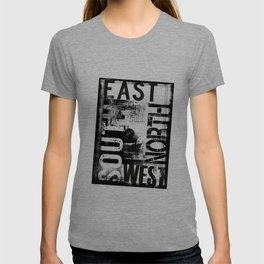 East South North West Black White Grunge Typography T-shirt