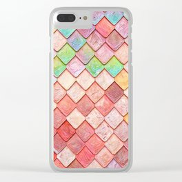Pink Mermaid Scales Clear iPhone Case