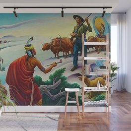 Classical Masterpiece 'American West from Native Americans Perspective' by Thomas Hart Benton Wall Mural