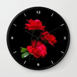 Red roses on black background Wall Clock