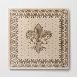 Fleur-de-lis - Pastel Gold Metal Print