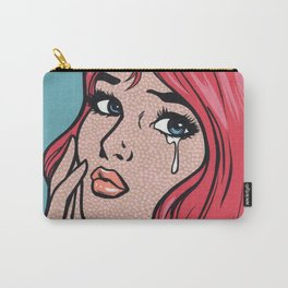 Pink Hair Sad Girl Carry-All Pouch