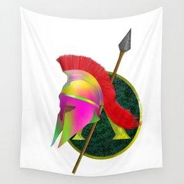 Spartan Helmet Colorful Wall Tapestry