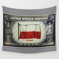 poland Wall Tapestries featuring Flag of Poland by lanjee
