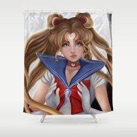 sailor moon Shower Curtains featuring Sailor Moon by Niniel