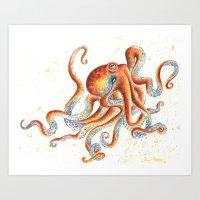 octopus Art Prints featuring Octopus by Patrizia Ambrosini
