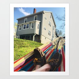 Day Off, Feet in Loafers, In the Hammock Art Print